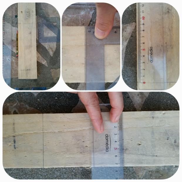 A l'aide de l'équerre, tracer un trait perpendiculaire à la planche. C'est ce qui sera la base de votre maison donc il vaut mieux que ce soit bien droit... Puis en partant de cette base, marquez à 8cm et 11cm (de la base) de chaque côté. Tracez un trait sur les marques à 11cm. Mesurez la ligne tracée et faite une marque au milieu.