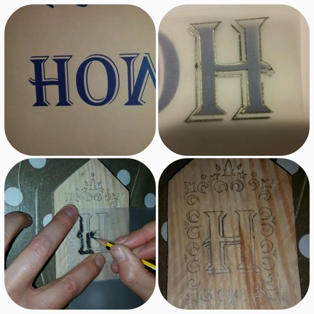 Après avoir choisi votre texte, ici HOME, ajustez la police afin que chaque lettre fasse de largeur et de hauteur. Imprimez texte mais surtout en mode miroir ou