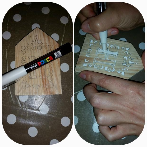 enfin, vous n'avez plus qu'à colorer à l'aide du Posca pointe fine et votre première lettre est terminée. Vous savez maintenant comment continuer le reste de votre mot...