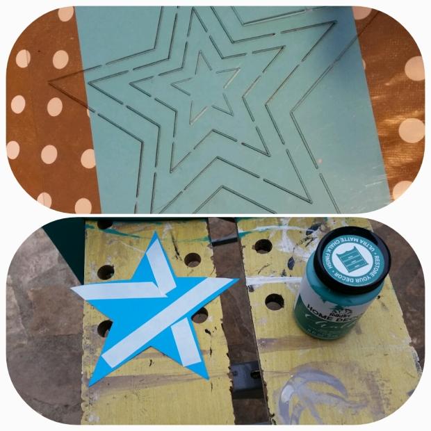 Après avoir découpé mon étoile au cutter à l'aide du gabarit Artemio, (mais on peut aussi tout simplement imprimer une étoile qu'on découpe), j'ai coller du scotch double face à l'arrière de l'étoile. Attention de choisir du papier assez épais pour que la peinture ne passe pas à travers...(non, ça ne m'est pas arrivé...)